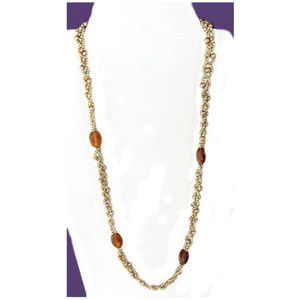 """Jewelry - Gold Glass Braided Bead/Amber Glass Necklace 20"""" L"""